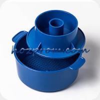 Синяя форма с поршнем Лазурь для твердых сыров 1 кг